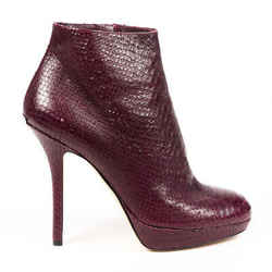 Christian Dior Boots Red Brown Snakeskin Stiletto Ankle SZ 38