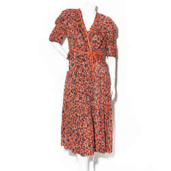 Ulla Johnson Orange Floral Wrap Dress