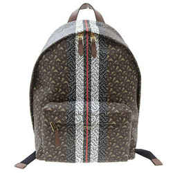 Auth Burberry Tb Men's Backpack Striped Brown 8018651 Leather Bag