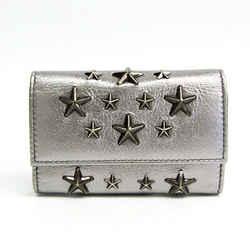 Jimmy Choo Howick Star Stars Unisex Leather Key Case Silver Bf513110