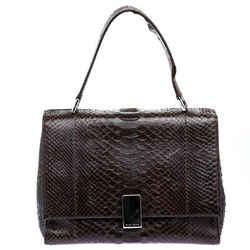 Ralph Lauren Dark Brown Python Shoulder Bag