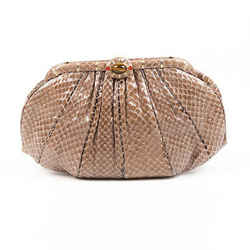 Judith Leiber Bag Brown Snakeskin Pleated Evening Clutch