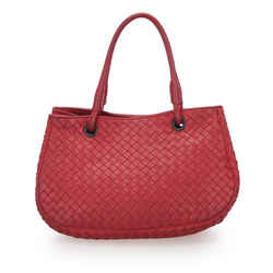 Vintage Authentic Bottega Veneta Red Calf Leather Intrecciato Handbag Italy