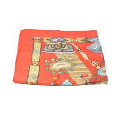 Hermes Orange Silk Gold Scarf