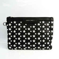 Jimmy Choo DEREK S Unisex Leather Studded Clutch Bag Black BF535507