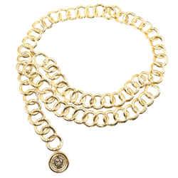 Chanel Gold Cc Double Chain Medallion Chain Belt