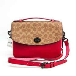 Coach Signature Kathy 74091 Women's Coated Canvas,Leather Handbag,Shoul BF515830