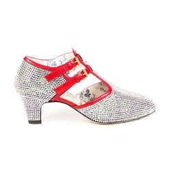 Gucci Pumps Mila Strass 55 Red Leather Crystal SZ 38.5