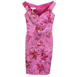Escada Pink Printed Silk Taffeta Formal Dress