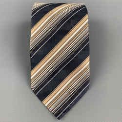 ERMENEGILDO ZEGNA Navy & Copper Diagonal Stripe Silk Tie