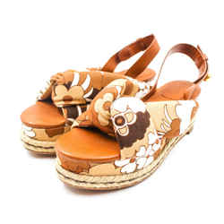 Chloe Size 39 Brown & Cream Espadrille Platform Slingbacks