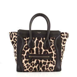 Luggage Bag Leopard Print Pony Hair and Leather Mini