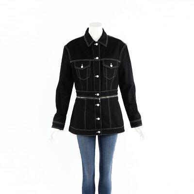 Alexander McQueen Jacket Black Denim Zip SZ 48