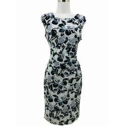 N1285 Lauren Ralph Lauren Designer Dress Sz 10 Medium Black White Floral Bodycon