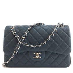 Chanel Classic Flap CC Jumbo Caviar Blue Calfskin Leather