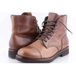 Brunello Cucinelli Leather Lace-up Toe Boots Brown US-11 Authenticity Guaranteed