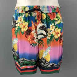 GUCCI Size XL Multi-Color Floral Hawaiian Print Silk Drawstring Shorts