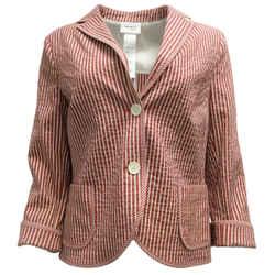 Akris Punto Red & Cream Striped Cotton Blazer