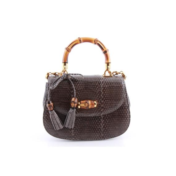 Gucci Bamboo Python Small Crossbody Bag Night One Size