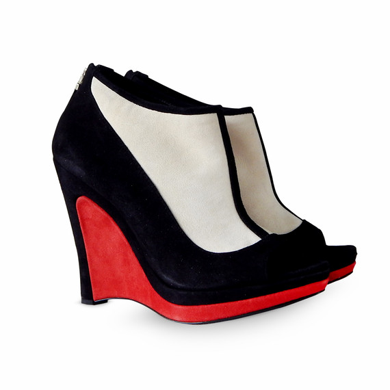 New Fendi Suede Peep Toe Wedge Booties - Black, White, Red - Size 37