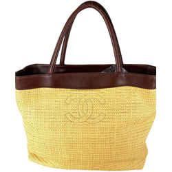 Chanel Straw Raffia Wicker CC Shopper tote 7ca527