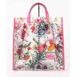 New $1,100 Gucci Flora Print Texturedvinyl Leather-trimmed Summer Clear Tote Bag