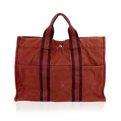 Hermes Paris Vintage Red Cotton Tote Fourre Tout MM Bag