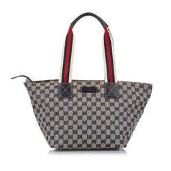 Vintage Authentic Gucci Gray  with Multi Canvas Fabric GG Web Tote Bag ITALY