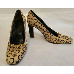 Celine Vintange Pony Hair Stenciled Logo Pumps With Gold Chain At Vamp - Size 39