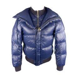 Blue Zip Up Back Snaps Down Filled Puffer Jacket / Coat