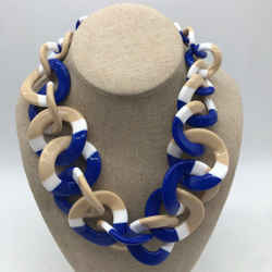 Tory Burch Blue Plastic Chain Necklace