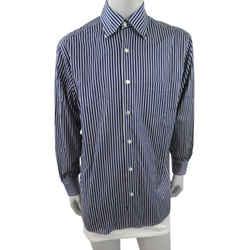 Ermenegildo Zegna Size Large Blue Stripe Dress Shirt Zegna Stripe Dress Shirt