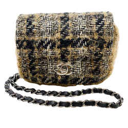 Chanel Classic Half Flap Brown and Black Tweed Shoulder Bag