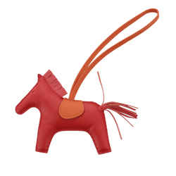 Vintage Authentic Hermes Red  Leather Grigri Rodeo Bag Charm MM France