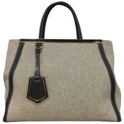 Fendi Beige / Black Canvas Shoulder Bag