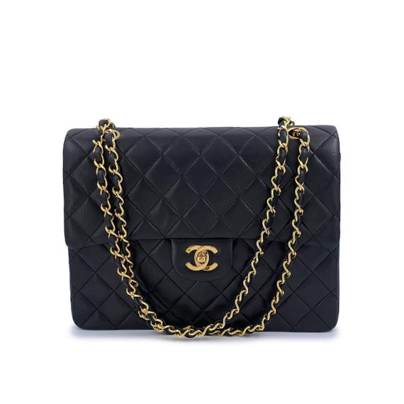 Chanel Vintage Tall Medium Classic Double Flap Bag 24k GHW