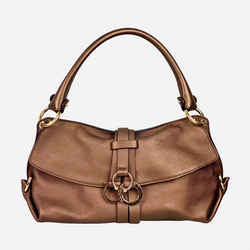 Salvatore Ferragamo Metallic Brown Gancini Shoulder Bag