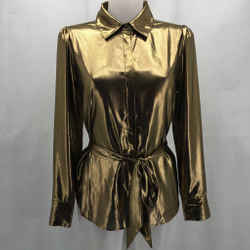 7 For All Mankind Gold Metallic Long Sleeve XS