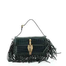 Gryphon Fringe Flap Bag Crocodile Mini