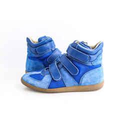 Maison Margiela Blue Suede Triple Strap Sneakers