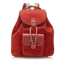 Red Gucci Bamboo Drawstring Suede Backpack Bag