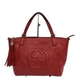 GUCCI  Soho Leather Top Handle Shoulder Bag Red 369176