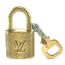 Louis Vuitton Gold Brass Lock and Key Set #319