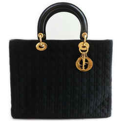 Christian Dior  Black Quilted Cannage Lady Dior Tote Bag Logo Charm Pendant 861992