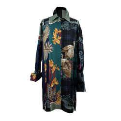 Salvatore Ferragamo Green Patchwork Silk Long Line Shirt Size 46 IT