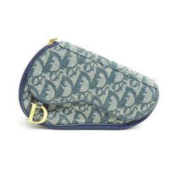 Authentic Dior Monogram Vintage CD Blue Leather Canvas Velcro Saddle Pouch Zip Bag