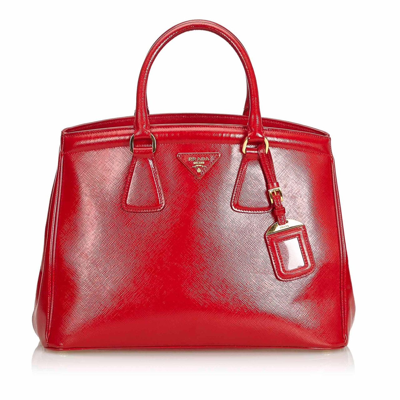 Red Leather Saffiano Lux Handbag Italy