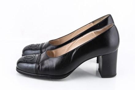 Chanel Cap Toe Pumps Black Size 7 Authenticity Guaranteed