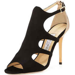 Jimmy Choo Tida Metallic Black Cut Out Strappy Sandals Sz 38 High Heels New $925