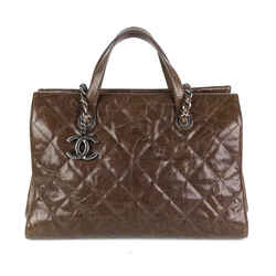 Cc Crave Quilted Caviar Leather Tote Bag